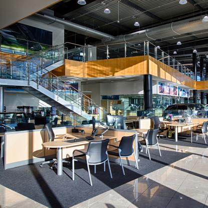 Mercedes, Mercedes Benz, luxury car, car dealership, new car, interior, dealership interior, staircase, wood