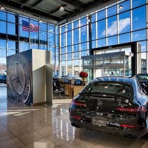 Mercedes, Mercedes Benz, luxury car, car dealership, new car, interior, dealership interior, glass panel