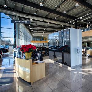Mercedes, Mercedes Benz, luxury car, car dealership, new car, interior, dealership interior, glass panel, wood